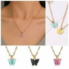 Charm Butterfly Pendant Necklace Women Gold Color Chain Statement Jewelry Gift