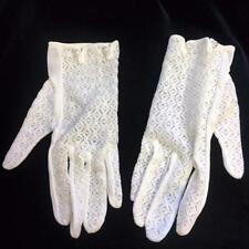 Vintage White Gloves Nylon & Lace 2 Pearl Buttons 6 -6 1/2 Ladies Made in Japan