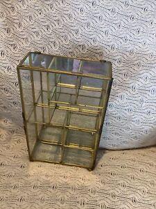 Small Display Cabinet/Mirror Back + Bottom/Glass Shelves