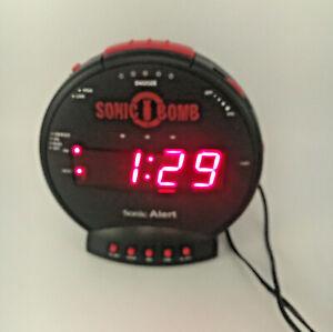 Sonic Alert Sonic Bomb  Alarm Clock with Vibrating Bed Shaker Black