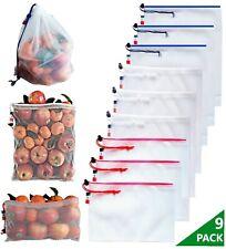 Lot 9 Sacs Réutilisables Pour Fruits et Légumes, Vrac, stockage Jouets, linge