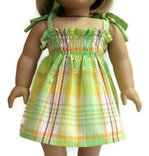 "Green Plaid Sun Dress fits 18"" American Girl Doll Clothes"