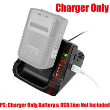1x Charger Fits For Black&Decker Lbx2040 Lbx36 40V Max Li-Ion Battery w/Usb Port