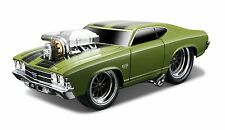 MAISTO 1:24 DISPLAY MUSCLE MACHINES 1969 CHEVROLET CHEVELLE SS Diecast Car Green
