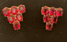Vintage Gold Tone and Red Rhinestone Shoe Clips Beautiful.