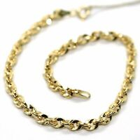 18K YELLOW GOLD ROPE BRACELET 7.5 INCHES BRAIDED INFINITE FACETED ALTERNATE LINK