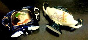 2 x Antique Austrian Miniature  Victorian Lady Portrait Vases Blues w/Gold Trim
