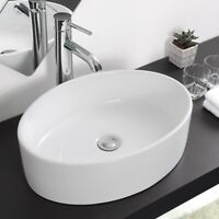 Bathroom Vessel Sink Vanity Spa Basin White Porcelain Ceramic Bowl Pop Up Drain