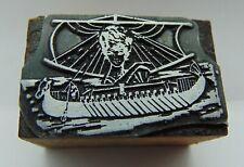 Printing Letterpress Printers Block Old Rowboat Ship Ladys Face