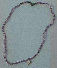 """Hand Made Beaded Necklace, Silver Tone """"Friends"""" Heart Pendant, VGC"""