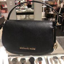Michael Kors Womens Leather Shoulder  Crossbody Handbag Bag Purse Black Gold