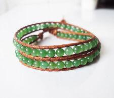 Sale Jade bracelets,Green bracelets,Leather bracelets,Women bracelets,2 Wrap,Men