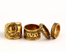 4Pcs/Set Punk Ancient Gold Flower Carved Elephant Finger Knuckle Rings Jewelry