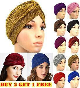 Shimmer Stretchy Turban Cap Beanie Headband Wrap Hat Hijab Plain Glitter Shinny