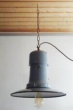 Antike gr. Emaille Schirm Leuchte Lampe Deckenlampe Art Deco Bauhaus 20er - 40er