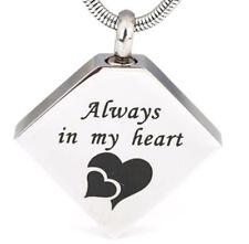 Diamond Shaped Always In My Heart Cremation Jewelry Keepsake Pendant Urn - Chain