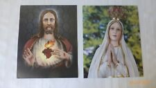 Sacred Heart of Jesus and Mother Mary Prints 8 x 10 Inches Unframed Set of 2