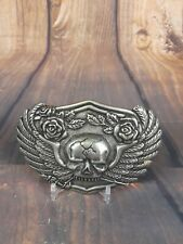 Mens Metal Belt Buckle Skull Cracked Flying Wings