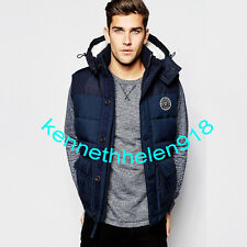 ABERCROMBIE & FITCH MENS SHERPA LINED VEST JACKET COAT NAVY SIZE LARGE A&F