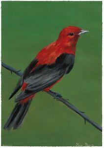 original painting A4 123DmO art by samovar acrylic Realism animal bird Signed