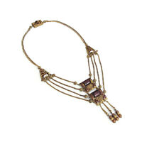 Art Deco Egyptian Revival Brown Czech Glass Festoon Necklace