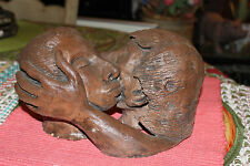 Original Modernist Abstract Sculpture-Black Man & Woman Kissing-Highly Detailed