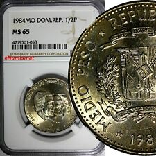 DOMINICAN REPUBLIC 1984 MO 1/2 Peso NGC MS65 Human Rights Toning KM# 62.1