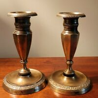 Pair Of Empire Style 19th Century Brass/ Bronze Candlesticks