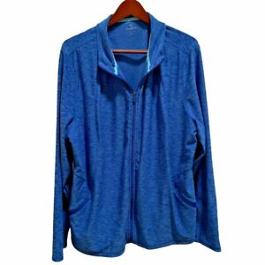 T by Talbots Blue Activewear Full Zip Athletic Jacket Size 3X Polyester Spandex