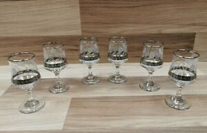 6 x Small Dema Sherry Glasses with Etched White Roses, Silver Band and Rim