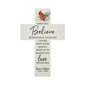 "Personalized Red Cardinal Memorial Bereavement 14"" Wall Cross Loss of Loved One"
