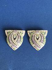 Colour Pair Of Dress Clips(3Zx) Vintage Art Deco Jewellery Paste Suffragette