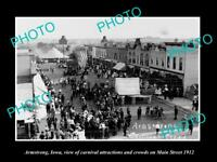 OLD LARGE HISTORIC PHOTO OF ARMSTRONG IOWA, THE MAIN STREET CARNIVAL c1912