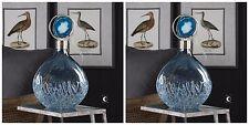 "PAIR 19"" SKY BLUE SUGAR SPUN GLASS COLOR DECORATIVE BOTTLE AGATE STONE TOP"