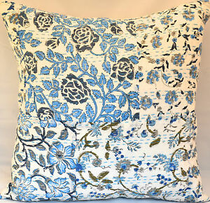 """Indian Hand Block-Printed Cotton Kantha Stitch C/Cover - Blue -18""""/45 cm"""