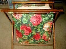 Vintage Wood Frame Roses Cloth Folding Tote Basket Knitting Crochet Sewing