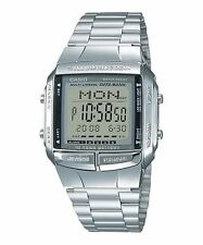 CASIO DB-360-1A Data Bank 30 Telememo 10 Year Battery Dual Time Bracelet Silver
