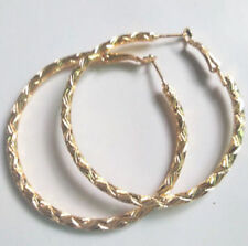 """Cute New Yellow Gold Plated Nicely Carved Design 2"""" 50MM Round Hoop Earrings"""