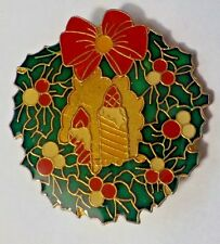 Vintage Cloisonne Style Christmas Wreath & Candles Brooch Pin