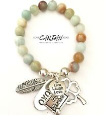 #1 Teacher Gifts Charm Bracelet Clover Live Laugh Love Xoxo Angel Feather Charms