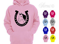 GIRLS PERSONALISED HORSE SHOE DESIGN HOODIE CHILDRENS PONY RIDING HOODY