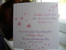 Handmade Personalised Twinkle Christening Baptism Naming Day Card Girls Boys