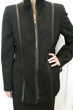 LOUIS FERAUD 2 Piece Black Wool And Leather Skirt Jacket Suit Size US 10