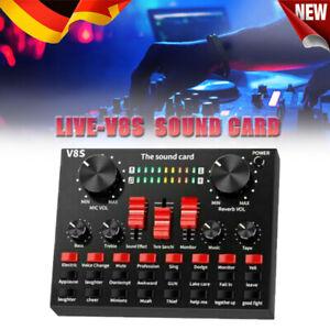 V8S Externe Soundkarte USB-Schnittstelle Mikrofon Mixer Für Audio/Broadcast/Live