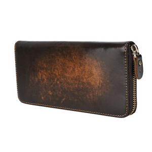 Men Genuine Leather Long Wallet Zipper Cowboy Purse Card Holder Purse Clutch Bag