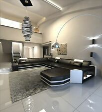 DIVANO in Pelle Mega wohlandschaft Prato XXL Divano Design Con Illuminazione a LED ottomana