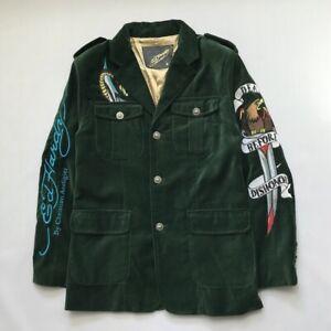 Ed Hardy Velour Blazer / Jacket Size Small Good Condition