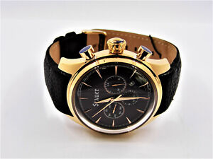 Stauer 28931 Gold Tone Multi-Function Dual Time Day Date Men's Watch