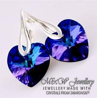 925 STERLING SILVER EARRINGS CRYSTALS FROM SWAROVSKI® 14MM HEART - HELIOTROPE AB