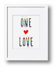 One Love Equal Rights Gay Pride Art Print LGBTQ Same Sex Marriage Typography Art